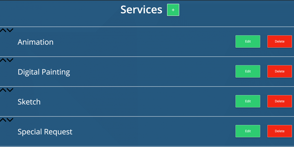 Back end service list