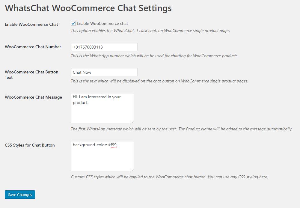 WooCommerce chat settings