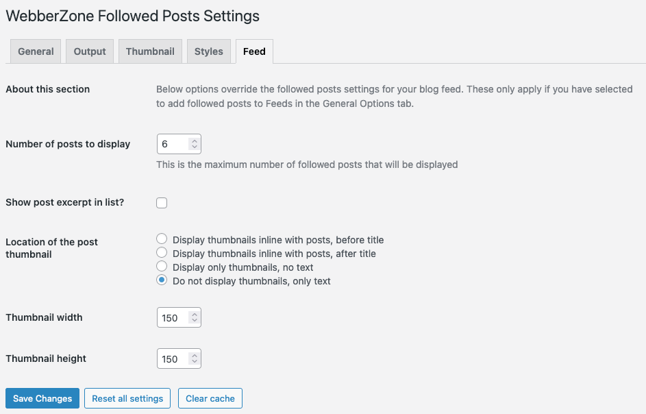 Options in WP-Admin - Feed options