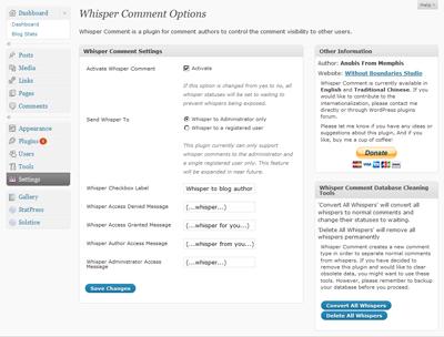 Whisper Comment Options