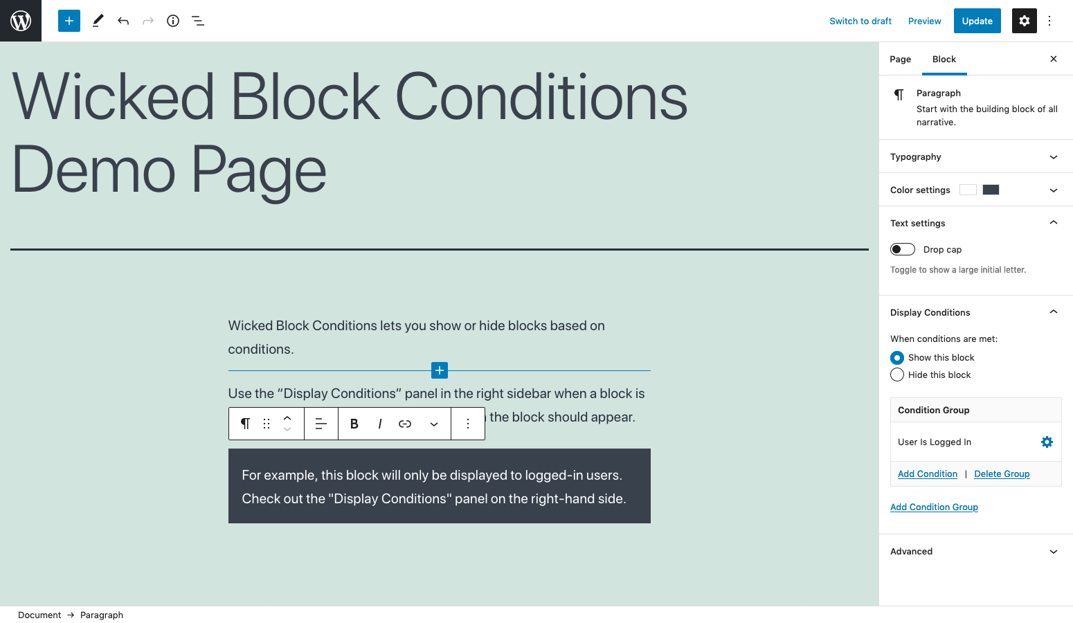 When a block is selected a 'Display Conditions' panel will appear in the right sidebar