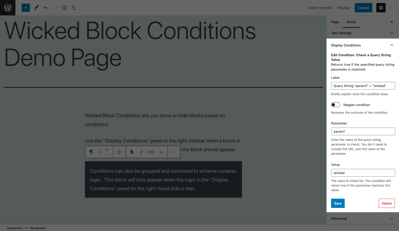 The 'Display Conditions' panel for a block with one condition added