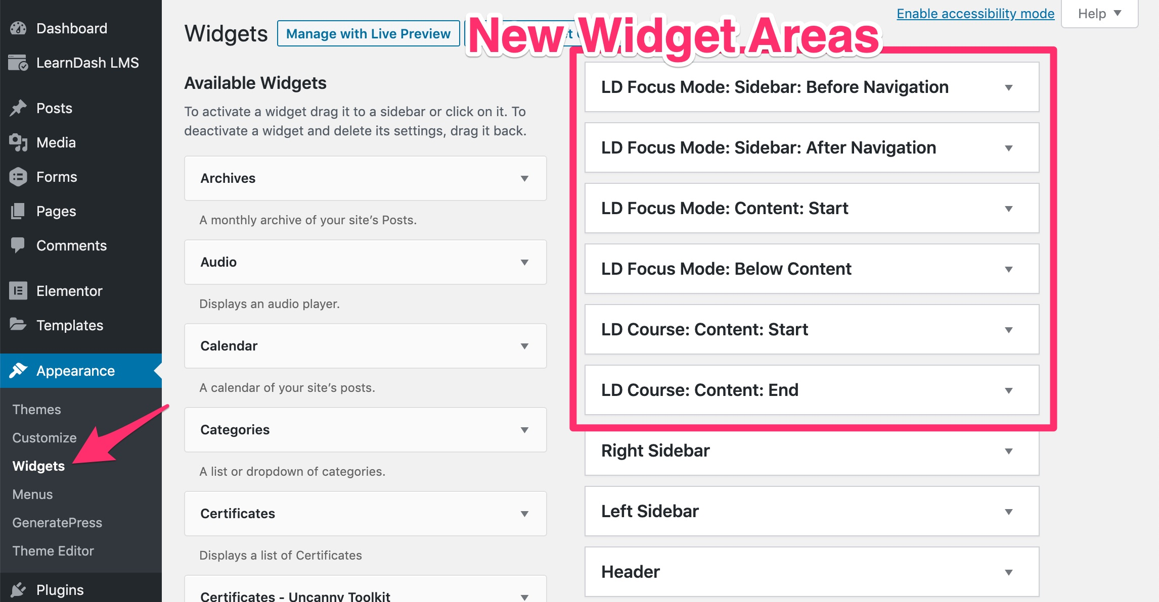 New LearnDash widget areas shown on the <strong>Appearance > Widgets</strong> screen