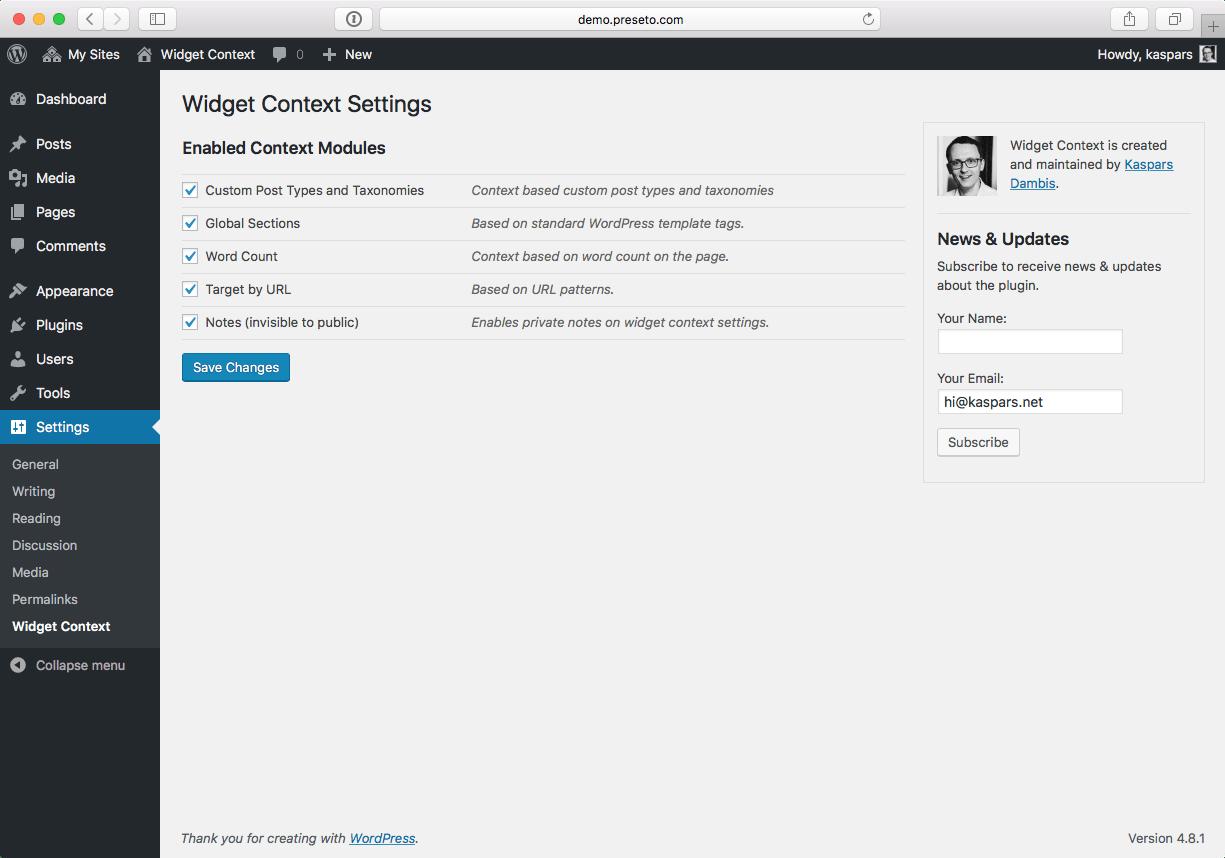 Widget Context plugin settings