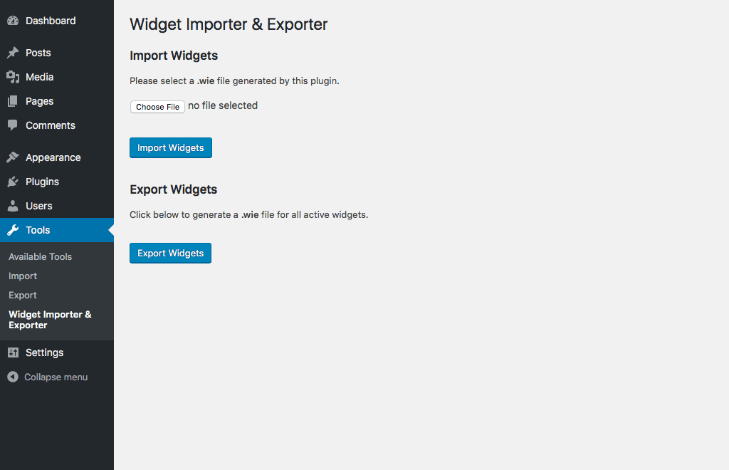 Main import/export screen