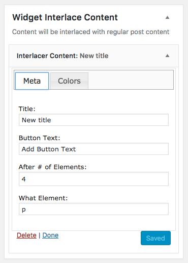 Sample configurations on the WordPress Widget area