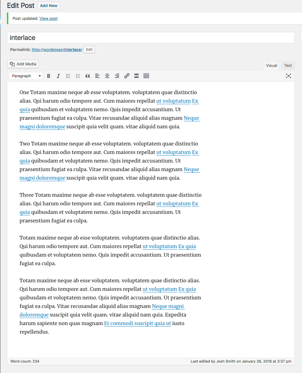 View of the Post editor without any interlaced content, because authors don't have to add it!