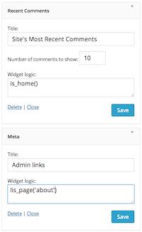 The 'Widget logic' field at work in standard widgets.