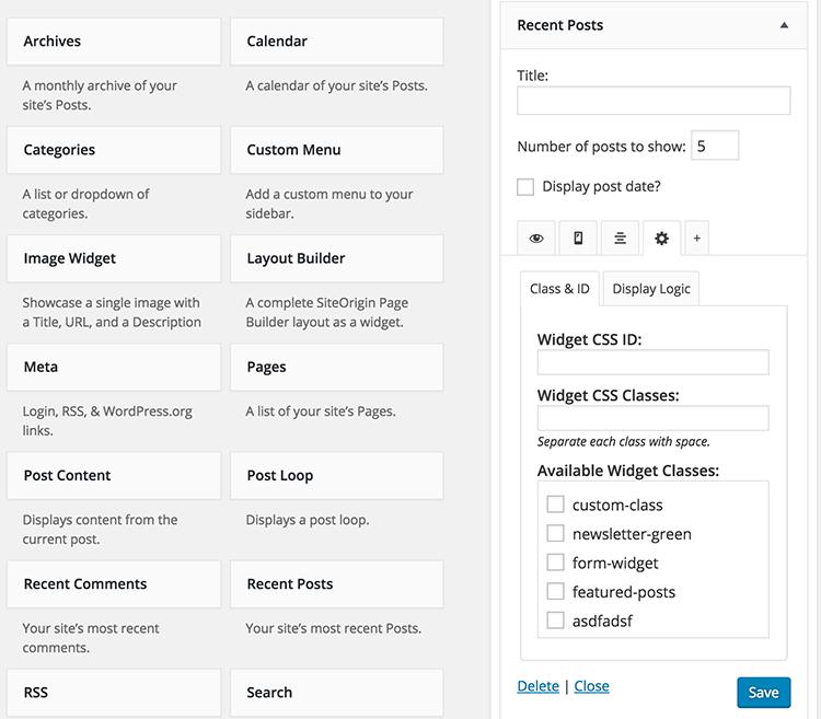 Widget CSS ID & Classes