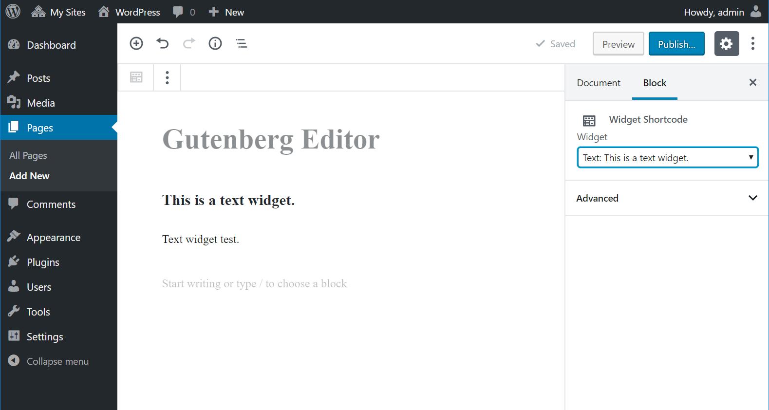 The new Widget Shortcode block in Gutenberg