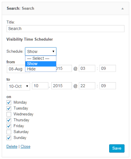 English interface of the premium plugin Widget Visibility Time Scheduler Pro in the Search Widget