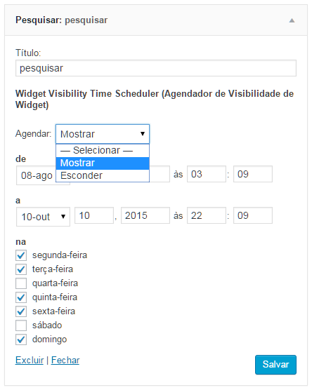 Brazilian portuguese interface of the Widget Visibility Time Scheduler in the Search Widget