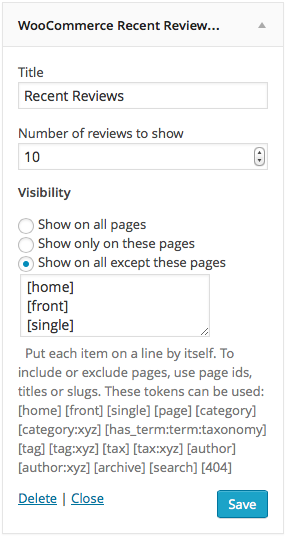 Widget visibility example II.