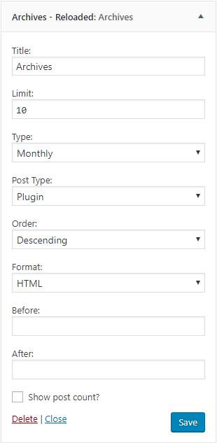 Archives widget