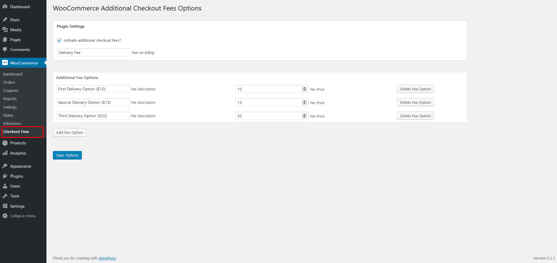 This screen shot shows admin page