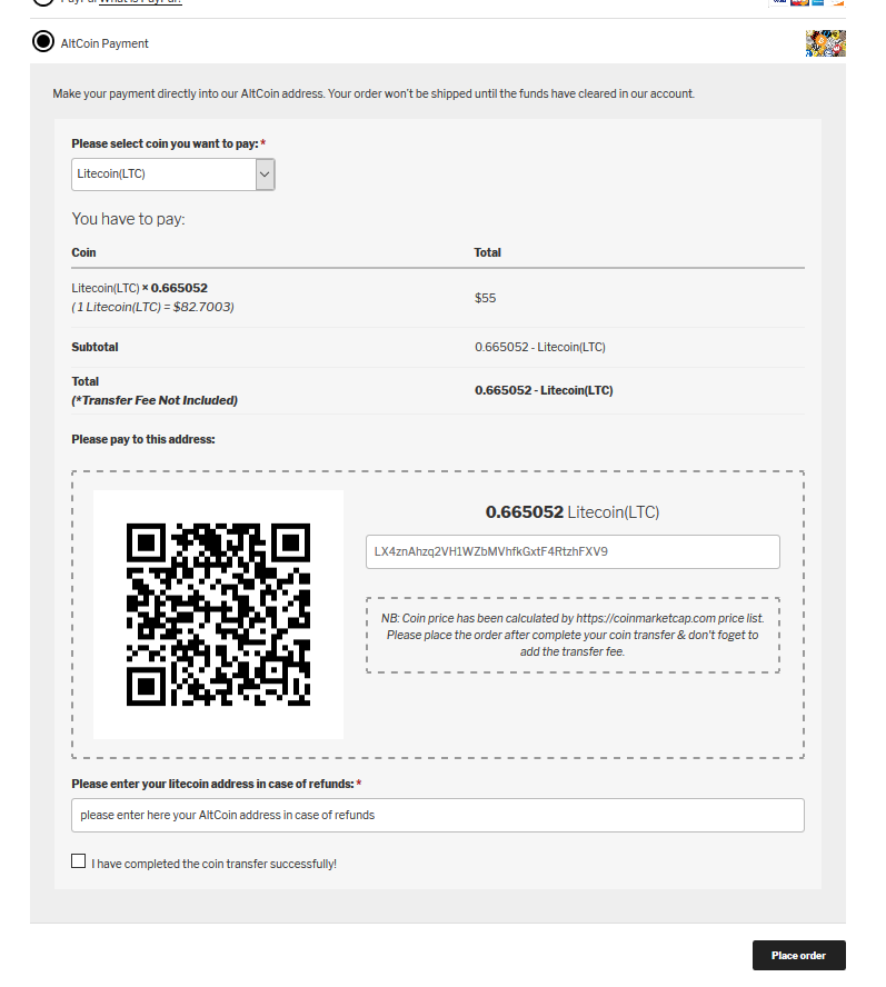 WooCommerce Bitcoin / AltCoin Payment Gateway – WordPress plugin