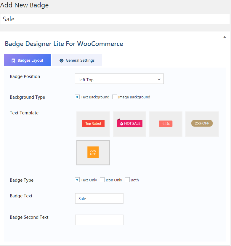 Woo badge designer lite builder page