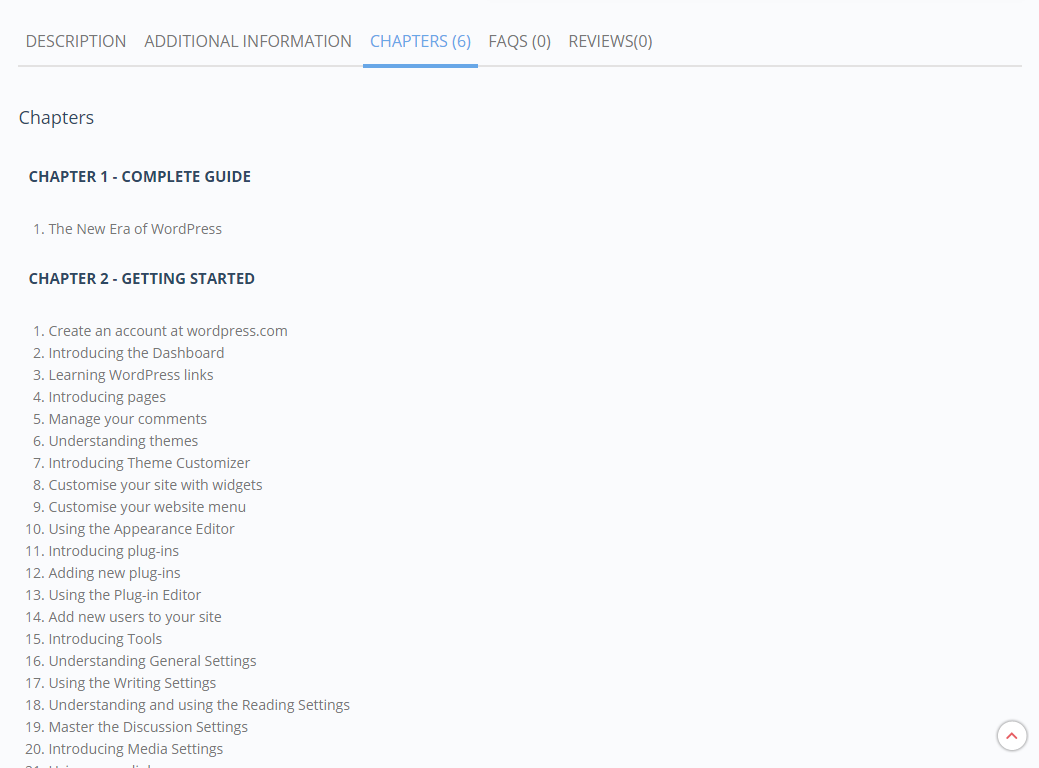 Add a new tab to theproduct page to display the Chapters and Sections of a book or ebook.