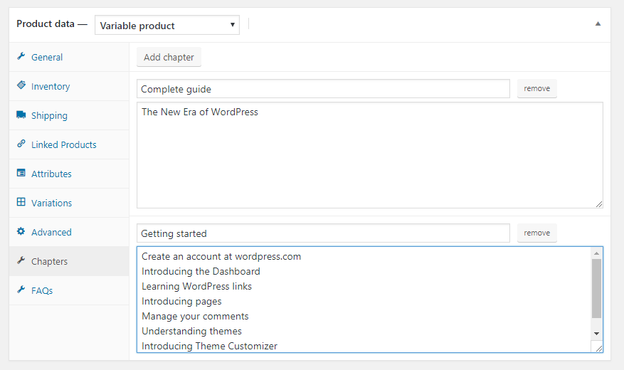 Add chapters and Sections from the Edit product page in the backend.