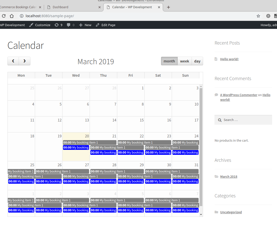 The default calendar view using [wbc-calendar] shortcode in page
