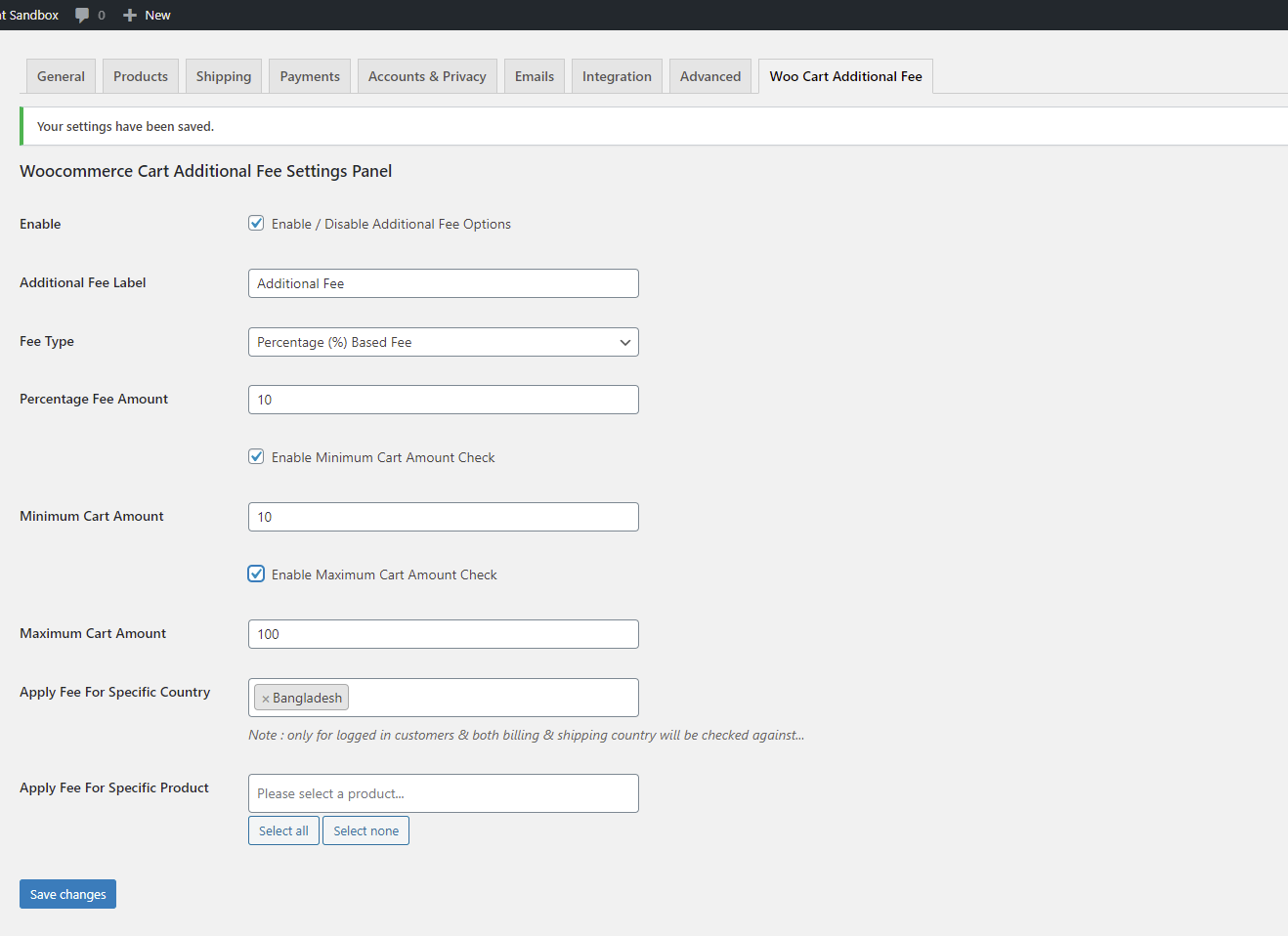 Settings panel for Woocommerce Cart Additional Fee Plugin.