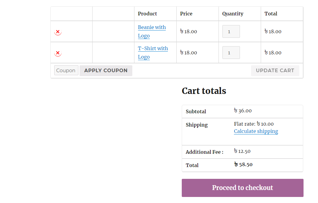 Additional Fee displayed in cart using Woocommerce Cart Additional Fee plugin.