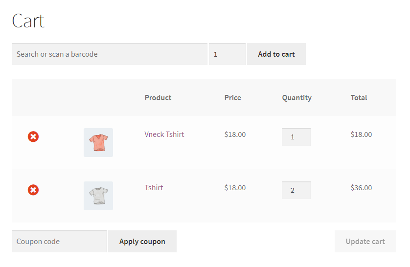 Search or scan a barcode on the WooCommerce cart page