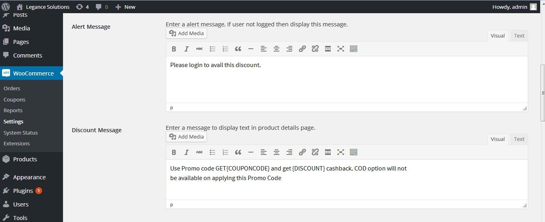 Cash back setting page in admin dashboard wooCommerce setting cash back tab