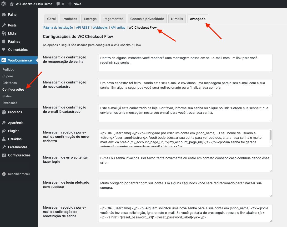 Página de configurações do plugin.