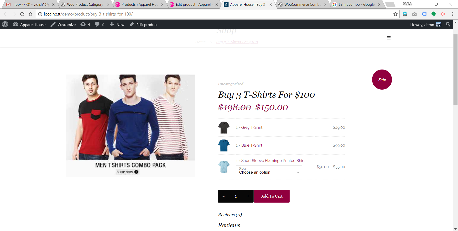 Frontend of combo offer where user can purchase it.