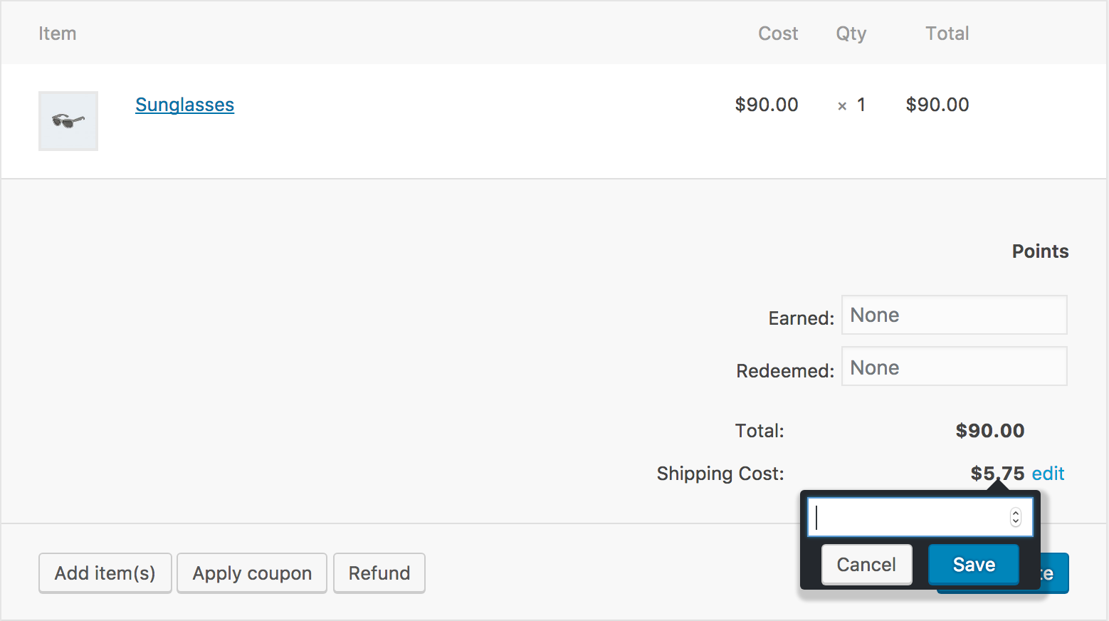Shows the JavaScript popup that allows you to manually edit the cost of shipping for this order.