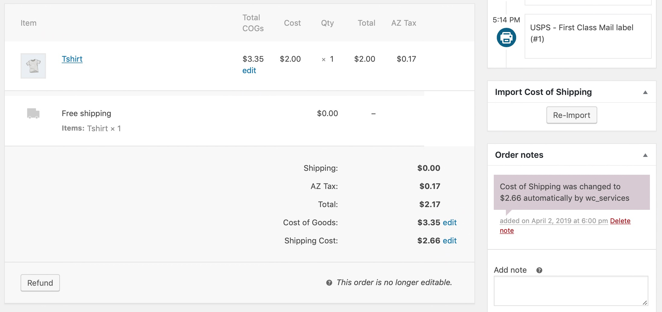 Shows the meta box on the right to import Cost of Shipping, the order note put in, and the Cost of Shipping