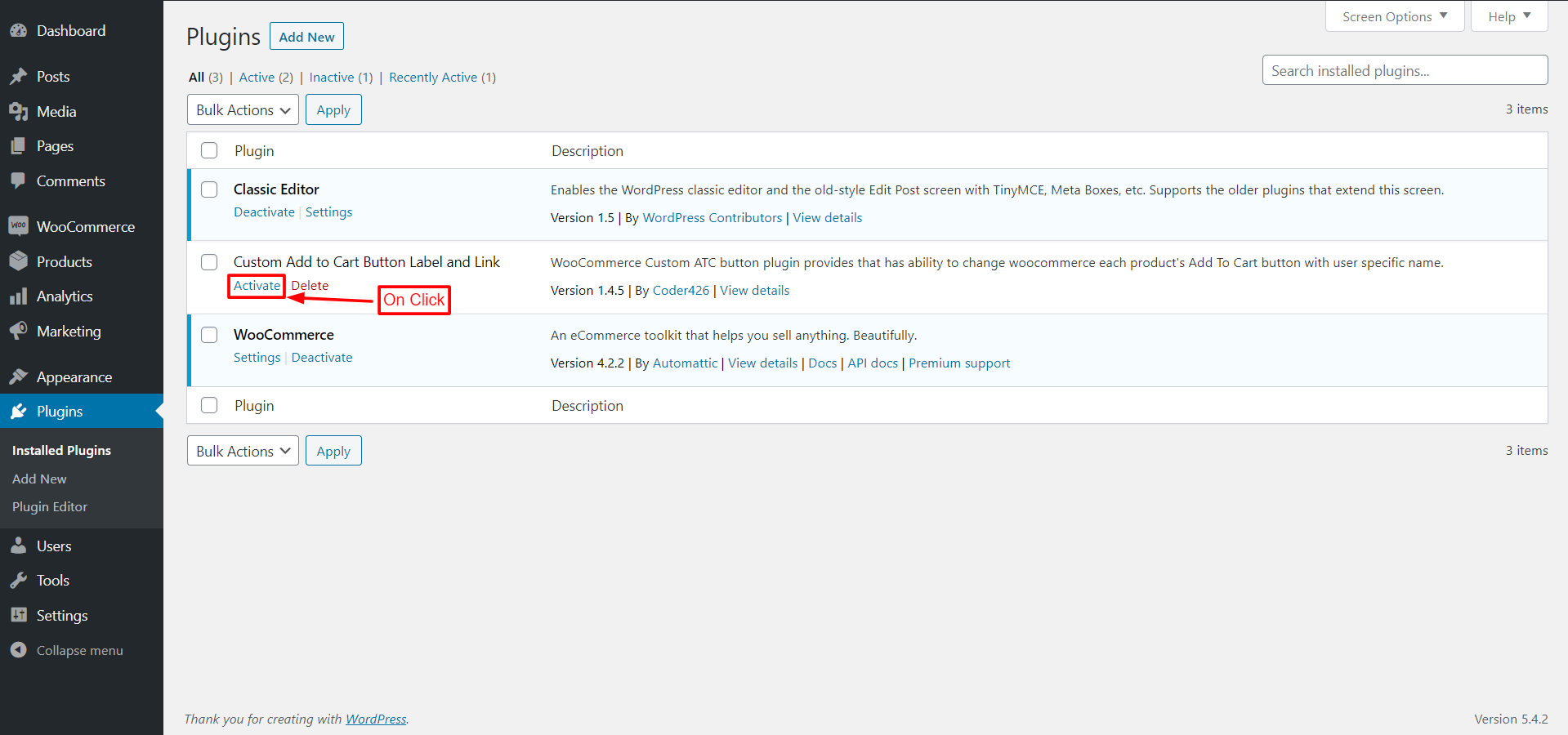 Plugin activation page