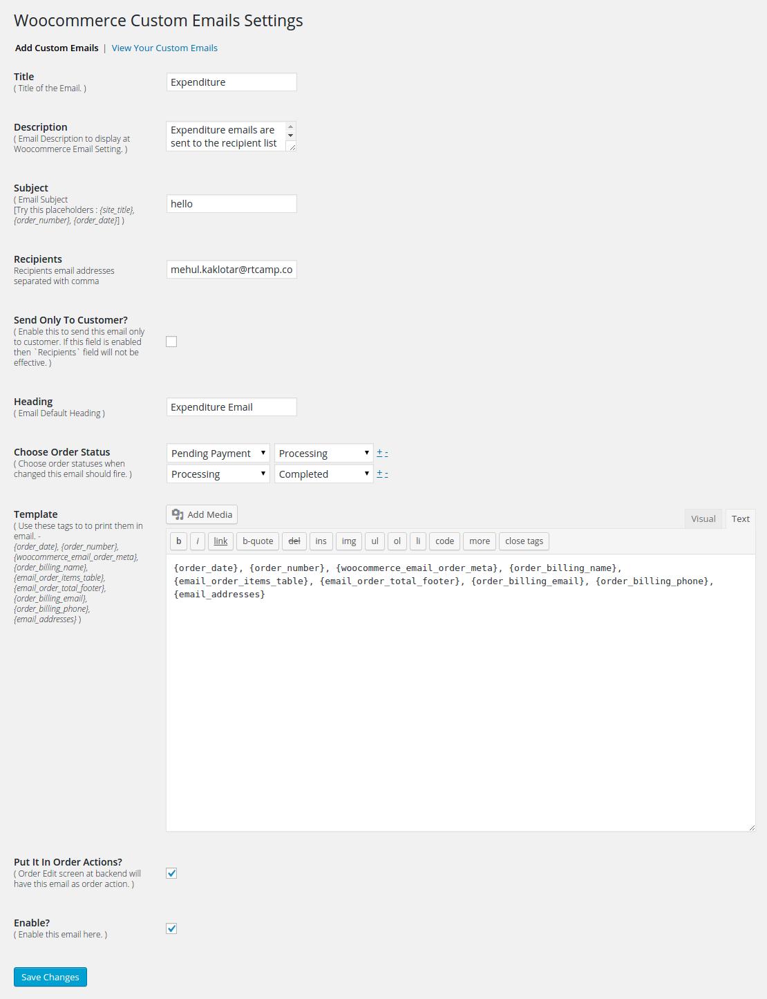 woo custom emails wordpress org