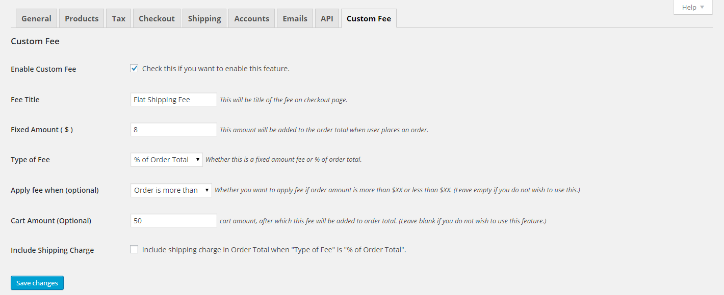 """Admin interface for defining custom fee """"Title"""" and """"Fixed Amount""""."""