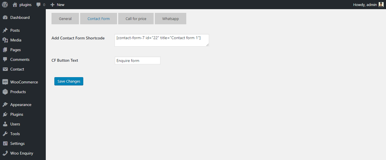 Contact Form options tab