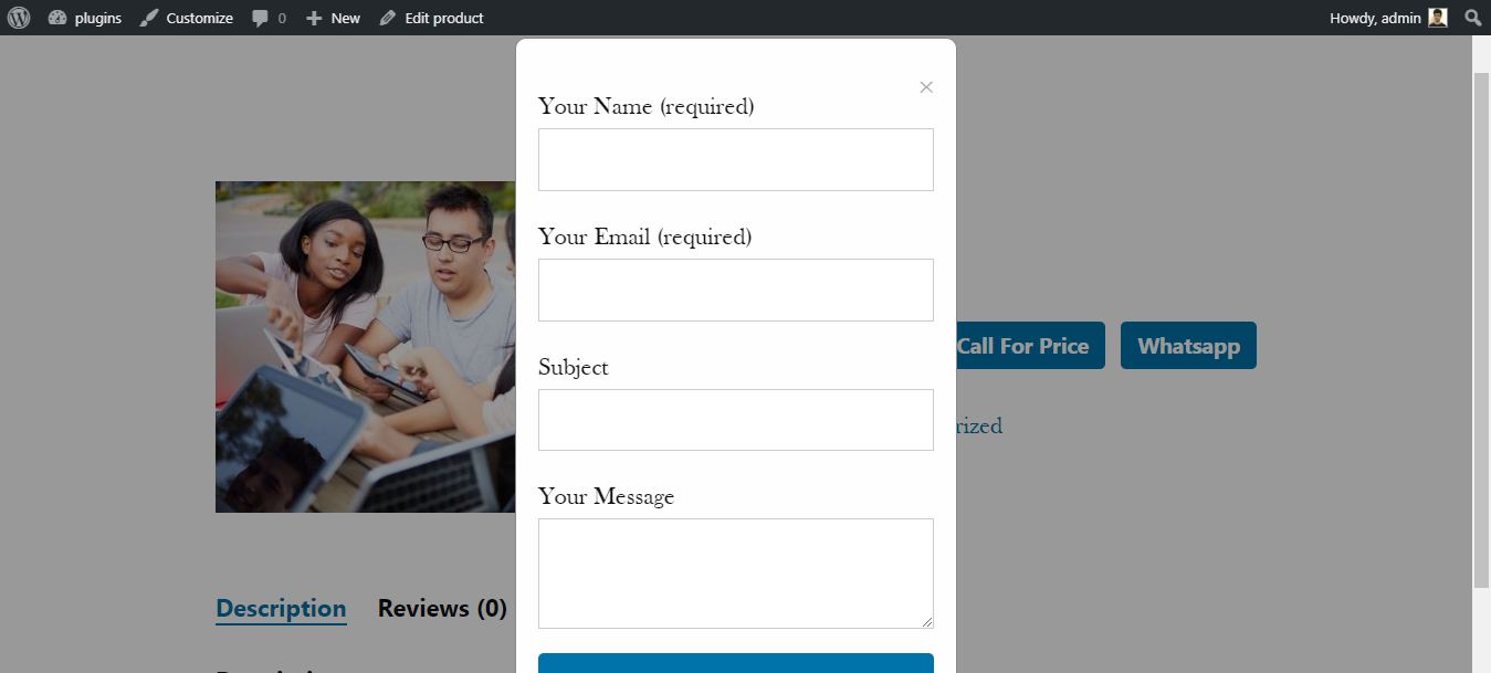 Contact Form Popup On Single Product