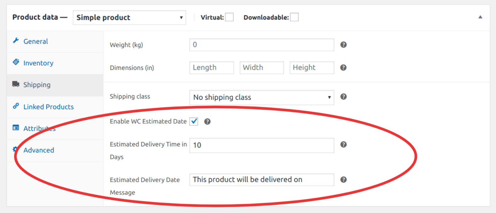 Settings Options Under Product Edit Page