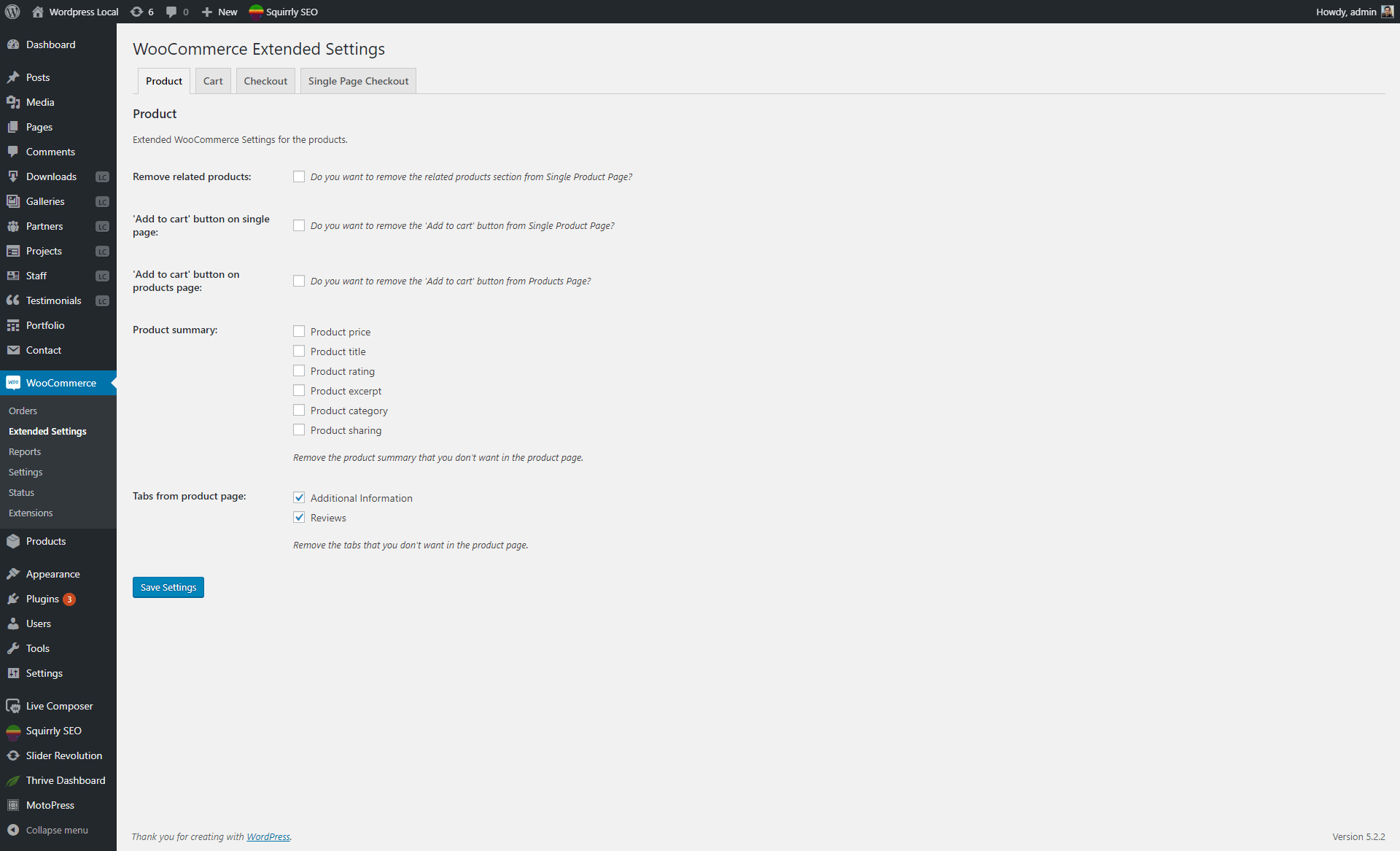 Product settings section