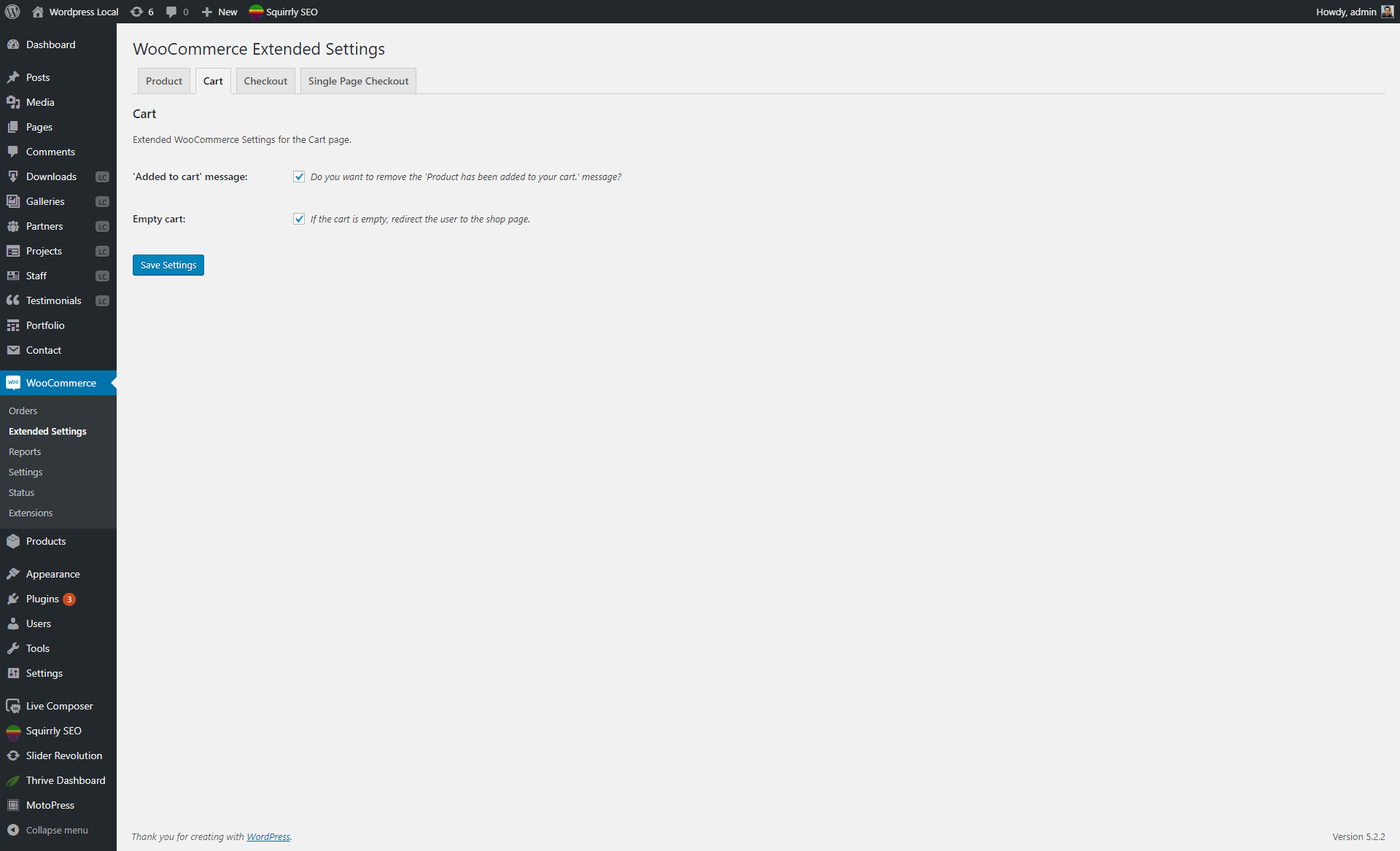 Cart page settings section