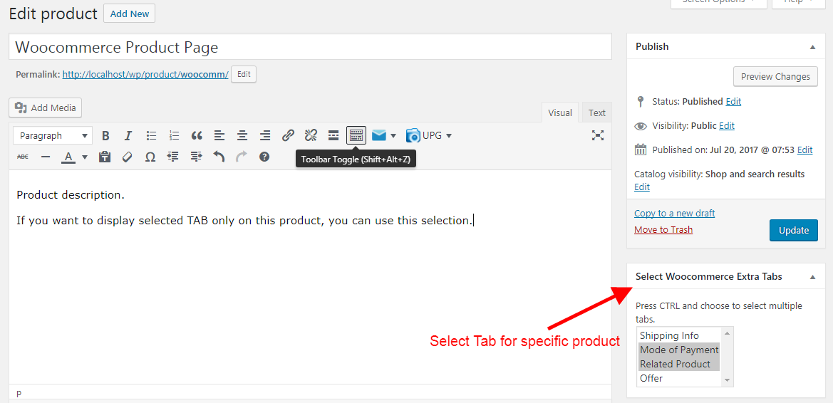 Product Specific Tab selection.