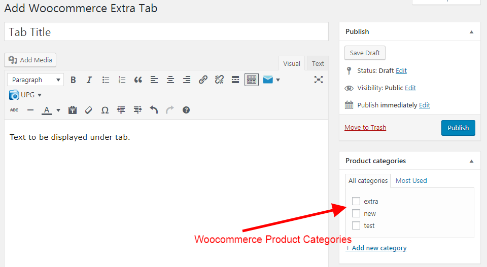 Display Tab as woocommerce categories selection.