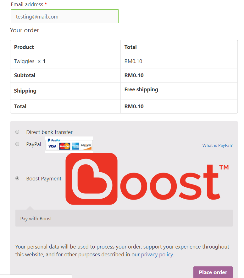"""Select the boost payment method to make payment and click """"Place Order"""""""
