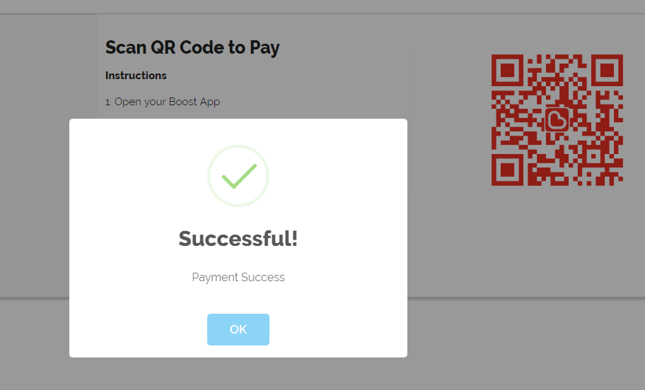 """Once scan the QRCode successfull will pop out a Successful message, click button """"OK"""" to returnURL"""