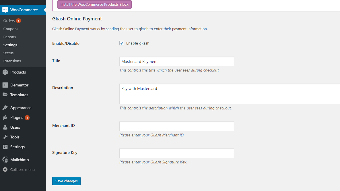 Gkash Mastercard for WooCommerce - plugin settings among WooCommerce => Settings => Payments => Gkash-Mastercard Payment. Enter your Merchant ID and Signature Key, register an account as a merchant with us at https://pay.asia.