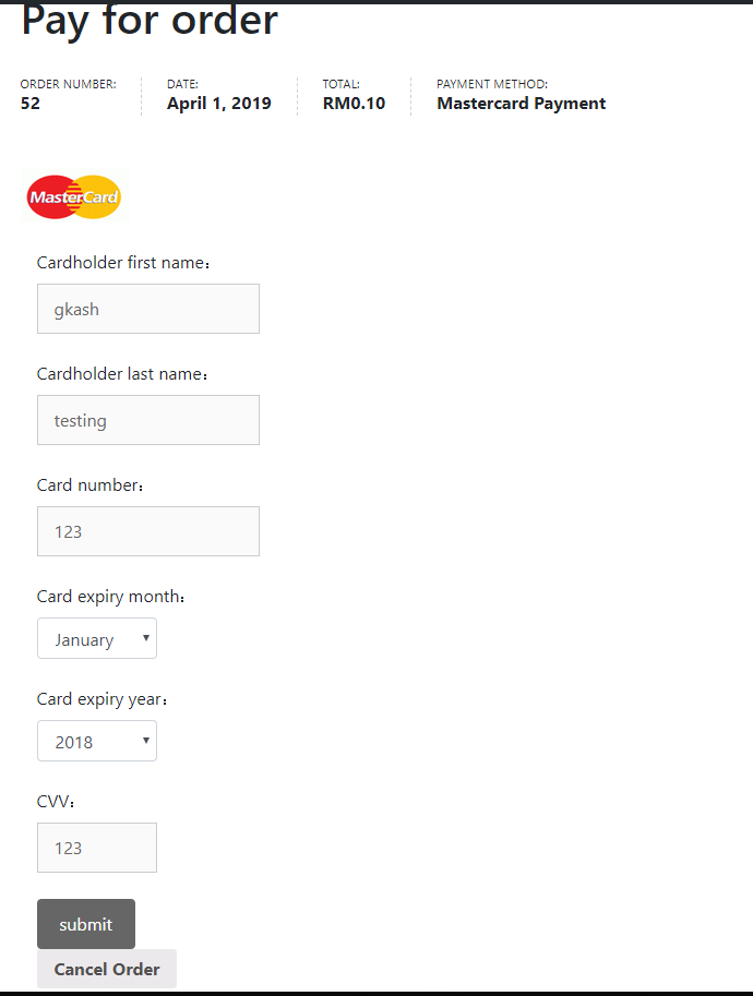 Fill up Card Information and click Submit to finish your payment