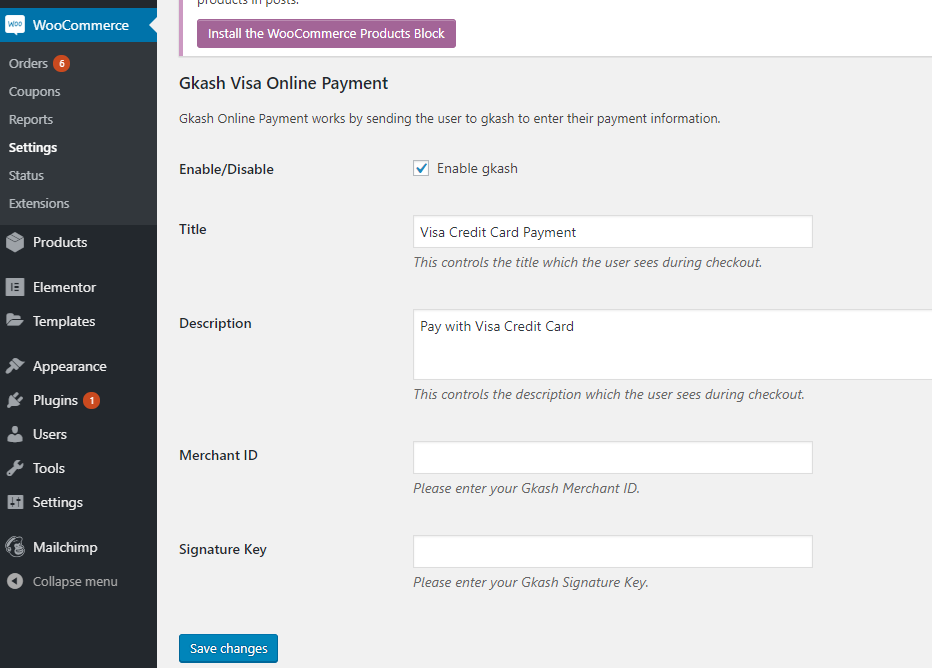 Gkash.My Visa Card for WooCommerce - plugin settings among WooCommerce => Settings => Payments => Gkash.My-Visa Payment Enter your Merchant ID and Signature Key, register an account as a merchant with us at https://pay.asia.