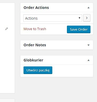 Globkurier Meta Box on the WooCommerce Order Page