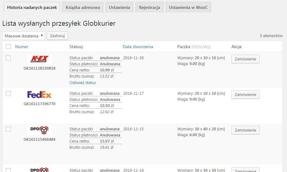 History Packages List in Globkurier Menu