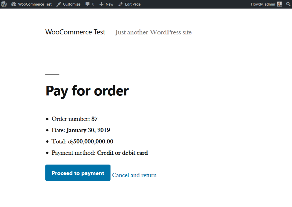 Payment configuration page